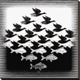 Sky and Water Stretched Canvas Print by M. C. Escher
