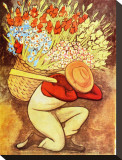 El Vendedora De Flores Stretched Canvas Print by Diego Rivera