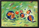 Marbles Framed Canvas Print by Cynthia Hudson