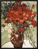Vase with Daisies and Poppies Framed Canvas Print