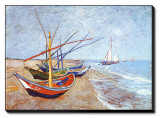Fishing Boats on the Beach at Saints-Maries, c.1888 Stretched Canvas Print