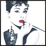 Audrey Hepburn Framed Canvas Print by Bob Celic