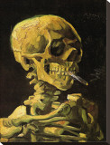 Skull with Burning Cigarette Stretched Canvas Print