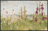 Hollyhocks by the Sea Framed Canvas Print by Cheri Blum