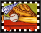 Baseball Framed Canvas Print by Kathy Middlebrook