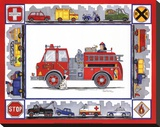 Rescue Trucks Stretched Canvas Print by Marnie Bishop Elmer