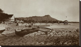 In Front of Outrigger Canoe Club, Waikiki Beach, Hawaii, 1917 Stretched Canvas Print