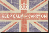 Keep Calm and Carry On (Union Jack) Stretched Canvas Print by Ben James
