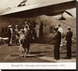 Boeing B-314, Passengers Arrive at La Gaurdia, 1939 Stretched Canvas Print by Clyde Sunderland
