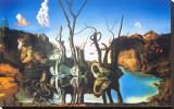 Reflections of Elephants Stretched Canvas Print by Salvador Dal&#237;