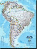 South America Political Map Stretched Canvas Print