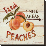 Fresh Peaches Stretched Canvas Print by David Carter Brown