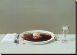 Pig in Soup Stretched Canvas Print by Michael Sowa