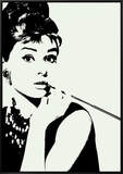 Audrey Hepburn: Cigarillo Framed Canvas Print