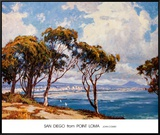 San Diego from Point Loma Framed Canvas Print by John Comer