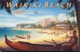 Playa Waikiki Reproducción en lienzo de la lámina por Kerne Erickson