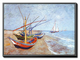Fishing Boats on the Beach at Saints-Maries, c.1888 Framed Canvas Print