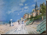 Plage de Trouville Reproduction transf&#233;r&#233;e sur toile par Claude Monet