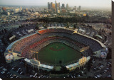 Dodger Stadium - Los Angeles, California Stretched Canvas Print by Mike Smith