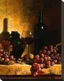 Wine Bottle, Grapes and Walnuts Stretched Canvas Print by Loran Speck