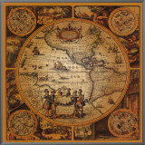 Antique Map, Cartographica II Framed Canvas Print