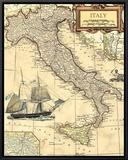 Italy Map Framed Canvas Print