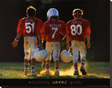 Winners Never Quit - Football Stretched Canvas Print