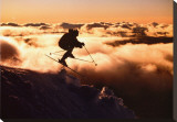 Challenge: Skier in Clouds Stretched Canvas Print