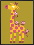 The Giraffe and the Monkeys Framed Canvas Print by Nathalie Choux