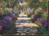 Garden at Giverny Stretched Canvas Print by Claude Monet