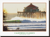 Huntington Beach Pier Stretched Canvas Print by Dennis Junor