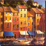 Portofino Waterfront Stretched Canvas Print by Michael O'Toole