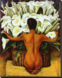 Nude with Calla Lilies Stretched Canvas Print by Diego Rivera