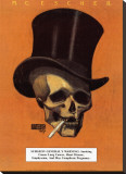 Skull with Cigarette Stretched Canvas Print by M. C. Escher