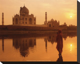Taj Mahal, India Stretched Canvas Print by Peter Adams