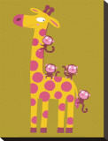 The Giraffe and the Monkeys Stretched Canvas Print by Nathalie Choux