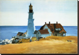 Lighthouse, Porthead Stretched Canvas Print by Edward Hopper