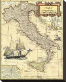 Italy Map Stretched Canvas Print