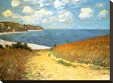 Path Through the Corn at Pourville, 1882 Stretched Canvas Print by Claude Monet