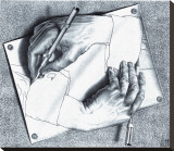 Drawing Hands Stretched Canvas Print by M. C. Escher