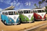 Campers VW sur la plage Poster