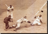 Jackie Robinson Stealing Home, May 18, 1952 Stretched Canvas Print by Nat Fein