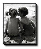 Kids Kissing Stretched Canvas Print