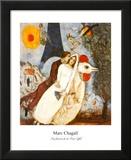 De verloofden bij de Eiffeltoren Print van Marc Chagall