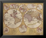 Antique Map, Globe Terrestre, 1690 Kunst van Vincenzo Coronelli