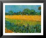 Vista de Arles con lirios Láminas por Vincent van Gogh