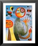 Les échelles en roue de feu traversent l'azur Affiche par Joan Miró