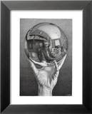 Mains avec sphère Poster par M. C. Escher