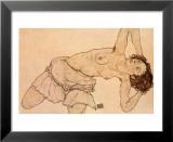 Knielende, Halfnaakte Vrouw, Naar Links Gebogen Prints by Egon Schiele