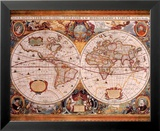 Antique Map, Geographica, c.1630 Art by Henricus Hondius